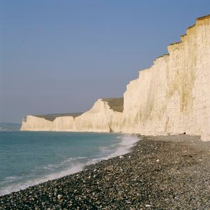 The Seven Sisters chalk cliffs seen from the beach at Birling Gap, East Sussexの写真素材 [FYI03762468]