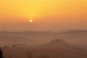 Landscape of fields and cypress trees at sunset in the hills of Tuscanyの写真素材 [FYI03762529]