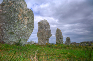 Megalithic stones in the Menec Alignment at Carnac, Brittanyの写真素材 [FYI03762660]