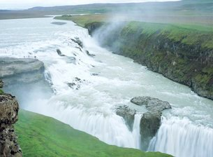 Gullfoss, or Golden Waterfall, this double waterfall was saved from development for hydroelectric poの写真素材 [FYI03762927]
