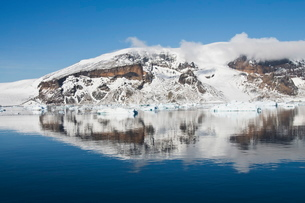 Reflections, Brown Bluff, Antarctic Peninsula, Antarcticaの写真素材 [FYI03763376]