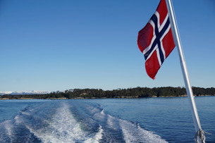 Fjord near Bergen, Hordaland, Norway, Scandinaviaの写真素材 [FYI03763853]