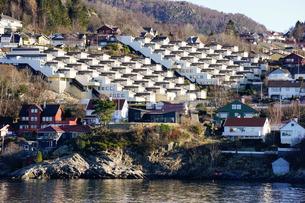 Fjord side housing development near Bergen, Hordaland, Norway, Scandinaviaの写真素材 [FYI03763866]