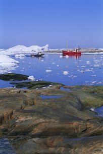 Icebergs from the icefjord, Ilulissat, Disko Bay, Greenlandの写真素材 [FYI03763984]