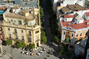 The famous El Giraldillo restaurant, Plaza Virgen de los Reyes, Santa Cruz district, Seville, Andaluの写真素材 [FYI03764278]