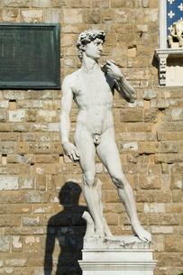 Statue of David, Palazzo Vecchio on the Piazza della Signoria, Florence (Firenze), Tuscanyの写真素材 [FYI03764320]