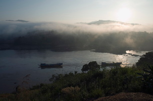 Mekong River, Golden Triangle area of Thailand, Southeast Asiaの写真素材 [FYI03764430]