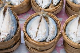 fish in market, Luang Prabang, Laos, Southeast Asiaの写真素材 [FYI03764478]