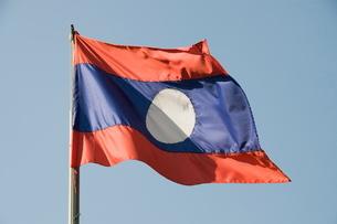 Laos flag, Laos, Southeast Asiaの写真素材 [FYI03764515]