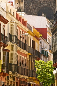 Typical Andalusian street and coloured houses, with cathedral in the background, Seville, Andalusiaの写真素材 [FYI03764622]