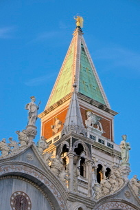 Campanile and detail of the facade of the Basilica di San Marco, dating from the 11th century, Piazzの写真素材 [FYI03764645]