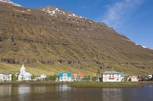 Seydisfjordur ferry terminal village, North East area, Icelandの写真素材 [FYI03765213]