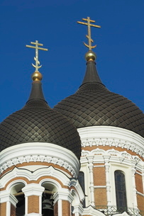 Domes of the Alexander Nevsky Cathedral, Russian Orthodox church, Toompea Hill, Tallinn, Estoniaの写真素材 [FYI03765220]