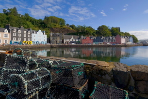 Multicoloured houses, and lobster pots on the jetty, in the harbour at Tobermory, Balamory, Mull, Inの写真素材 [FYI03765266]