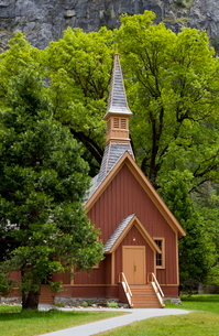 Historic Interdenominational Chapel (Yosemite Community church), Yosemite Valley, Yosemite Nationalの写真素材 [FYI03765393]