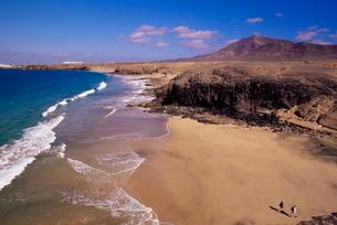 Papagayo beach and coastline, Lanzarote, Canary Islands, Atlanticの写真素材 [FYI03765486]