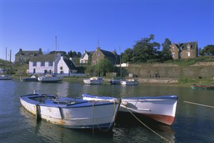 Port of Lerio, Ile-aux-Moines, Golfe du Morbihan (Gulf of Morbihan), Breton Islands, Morbihan, Brittの写真素材 [FYI03765756]
