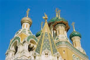 Russian Orthodox Cathedral, Nice, Cote d'Azurの写真素材 [FYI03765863]