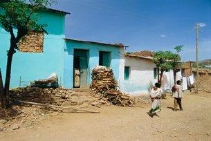Village of Abi-Adi, in the Abyssinian region of Tigre, Ethiopiaの写真素材 [FYI03765893]