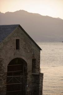 Boat house, Lake Maggiore, Italian Lakesの写真素材 [FYI03766566]