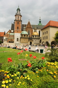 Flower garden and Wawel Cathedral dating from 14th century, Wawel Hill, Old Town, Krakow (Cracow), Pの写真素材 [FYI03767279]