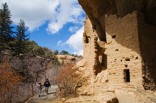 Spruce Tree House Ruins, Pueblo ruins in Mesa Verde containing some of the most elaborte Pueblo dwelの写真素材 [FYI03767346]