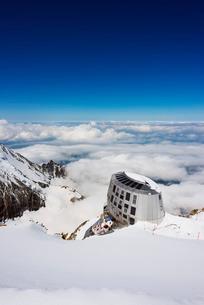 Mont Blanc Gouter refuge, Chamonix Valley, Rhone Alps, Haute Savoieの写真素材 [FYI03767982]