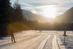 Cross country skiers, Chamonix Valley, Rhone Alps, Haute Savoieの写真素材 [FYI03767995]