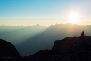 Brevant landscape at sunset, Chamonix, Rhone Alpes, Haute Savoieの写真素材 [FYI03768056]