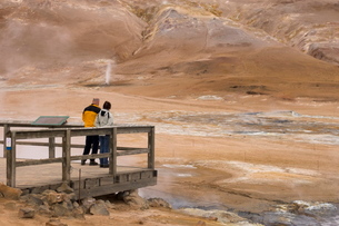 Hverir geothermal fields at the foot of Namafjall mountain, Myvatn Lake area, Icelandの写真素材 [FYI03768319]