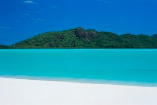 Whitehaven Beach, one of the finest in the country, on the east coast of Whitsunday Island, Whitsundの写真素材 [FYI03768961]