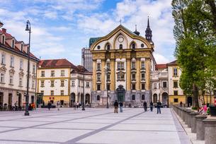 Ursuline Church of the Holy Trinity, Ljubljana, Sloveniaの写真素材 [FYI03769371]