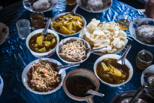 Burmese food in Pankam Village, a popular area for trekking in Hsipaw Township, Shan Stateの写真素材 [FYI03769454]