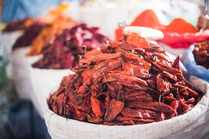 Chili peppers, Campesino Market (Mercado Campesino), Sucre, Boliviaの写真素材 [FYI03769460]