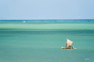 Fisherman fishing from a Pirogue, a traditional Madagascar sailing boat, Ifaty, Madagascarの写真素材 [FYI03769553]