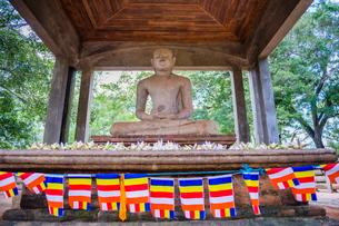 Samadhi Buddha statue and Buddhist flags, Anuradhapura, Cultural Triangle, Sri Lankaの写真素材 [FYI03769580]