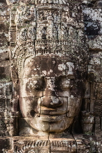 Face towers in Bayon Temple in Angkor Thom, Angkor, Siem Reap Province, Cambodia, Indochina, Southeaの写真素材 [FYI03769767]