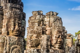 Face towers in Bayon Temple in Angkor Thom, Angkor, Siem Reap Province, Cambodia, Indochina, Southeaの写真素材 [FYI03769769]