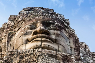 Face towers in Bayon Temple in Angkor Thom, Angkor, Siem Reap Province, Cambodia, Indochina, Southeaの写真素材 [FYI03769770]
