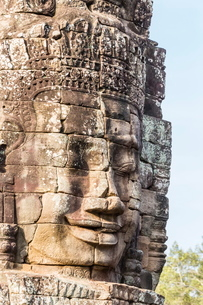Face towers in Bayon Temple in Angkor Thom, Angkor, Siem Reap Province, Cambodia, Indochina, Southeaの写真素材 [FYI03769771]