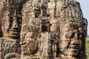 Face towers in Bayon Temple in Angkor Thom, Angkor, Siem Reap Province, Cambodia, Indochina, Southeaの写真素材 [FYI03769772]