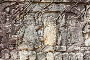 Bas-relief carvings in Bayon Temple in Angkor Thom, Angkor, Siem Reap Province, Cambodia, Indochina,の写真素材 [FYI03769776]