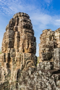 Face towers in Bayon Temple in Angkor Thom, Angkor, Siem Reap Province, Cambodia, Indochina, Southeaの写真素材 [FYI03769777]