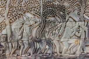 Bas-relief carvings in Bayon Temple in Angkor Thom, Angkor, Siem Reap Province, Cambodia, Indochina,の写真素材 [FYI03769781]