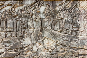 Bas-relief carvings in Bayon Temple in Angkor Thom, Angkor, Siem Reap Province, Cambodia, Indochina,の写真素材 [FYI03769782]