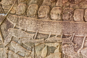 Bas-relief carvings in Bayon Temple in Angkor Thom, Angkor, Siem Reap Province, Cambodia, Indochina,の写真素材 [FYI03769785]