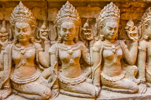 Apsara carvings in the Leper King Terrace in Angkor Thom, Angkor, Siem Reap Province, Cambodia, Indoの写真素材 [FYI03769792]