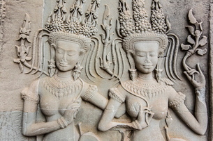 Bas-relief frieze at Angkor Wat, Angkor, Siem Reap Province, Cambodia, Indochina, Southeast Asiaの写真素材 [FYI03769800]