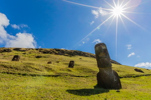 Rano Raraku, the quarry site for all moai statues on Easter Island (Isla de Pascua) (Rapa Nui)の写真素材 [FYI03769828]