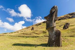 Rano Raraku, the quarry site for all moai statues on Easter Island (Isla de Pascua) (Rapa Nui)の写真素材 [FYI03769830]